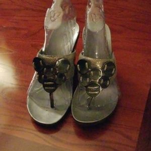 Pewter, irredescent wedge sandals